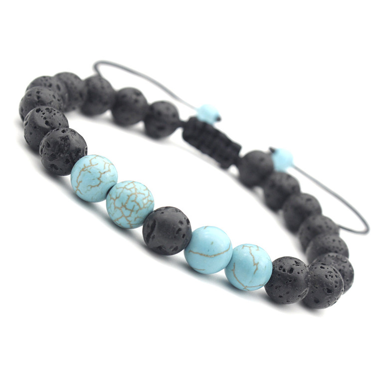 Cheap Factory Price Lava Bracelets Mens Turquoise And Lava Stone Bead Bracelet Adjustable Size