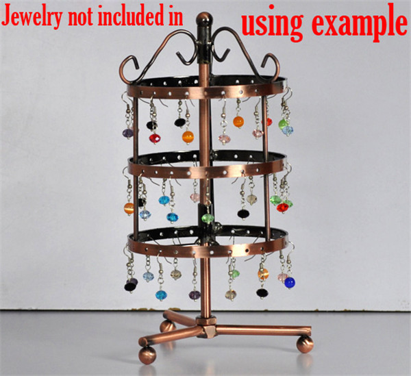 High Quality Round 72-Hole Revolving Jewelry Display Earrings Stand Holder
