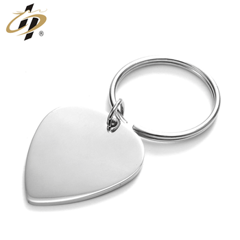 High quality stainless steel 3D Promotional sliver custom shaped heart metal keychains