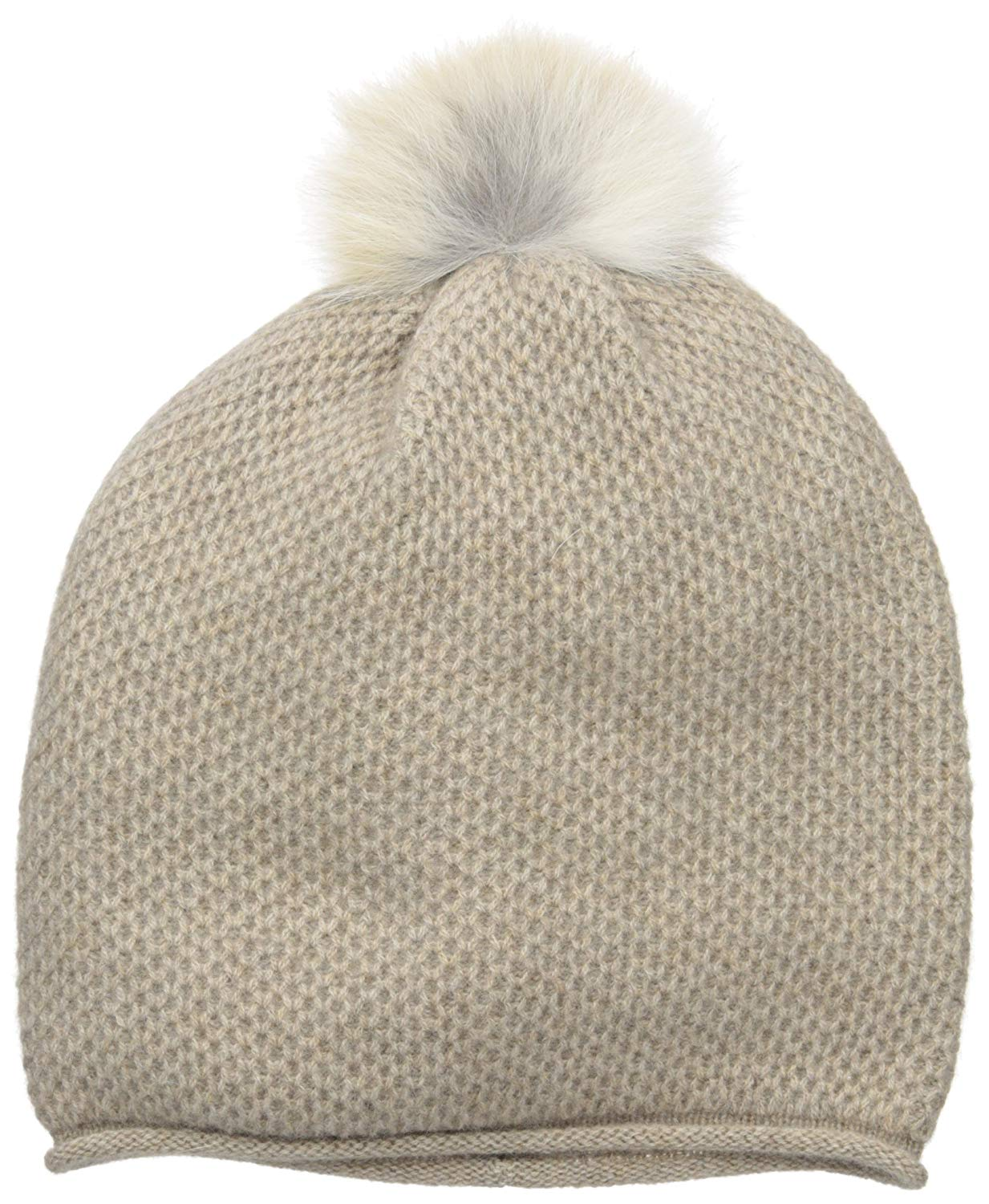 86127a8df62 Get Quotations · Sofia Cashmere Women s 100% Cashmere Honeycomb Hat with  Coyote Fur Pom