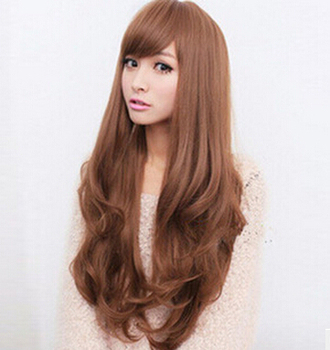 Fashion Women Heat Resistant Long Curly Hair Cosplay Costume brown Full Wig Wigs