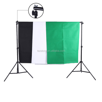 Photography Photo Studio Kit 1.6*3 non-woven Green /white/black Screen Backdrop Stand Light Bulbs sockets Soft Light Umbrella