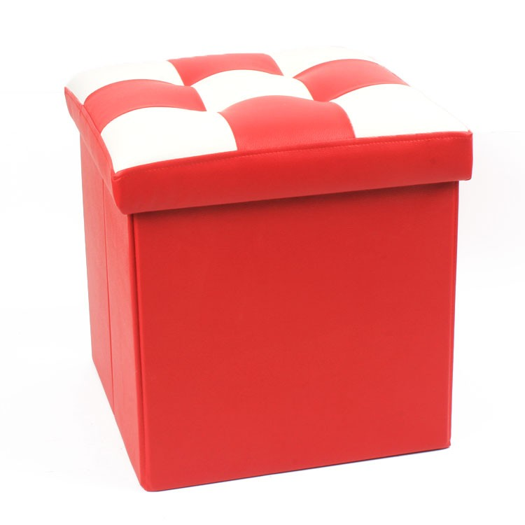 Red and White Grid shape cover MDF made PVC Foldable Storage Ottoman