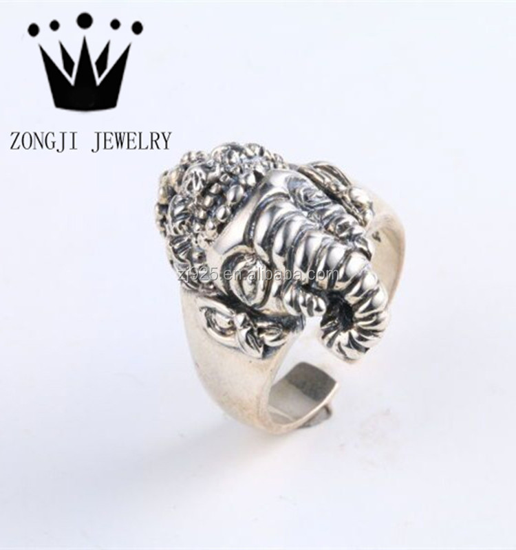 Exaggerated Design 925 Silver Gothic Punk Style Mens Ganesha Ring