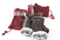 2016 Fashion women Faux Fur Suede Short Gloves winter warm Faux Leather rabbit Fur Gloves