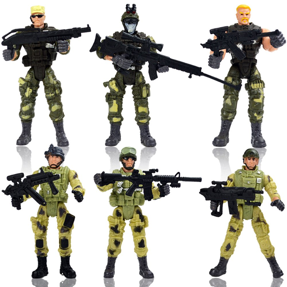 HAPTIME 6 Pcs Action Figure Army Soldiers Toy with Weapon/Military Figures Playsets