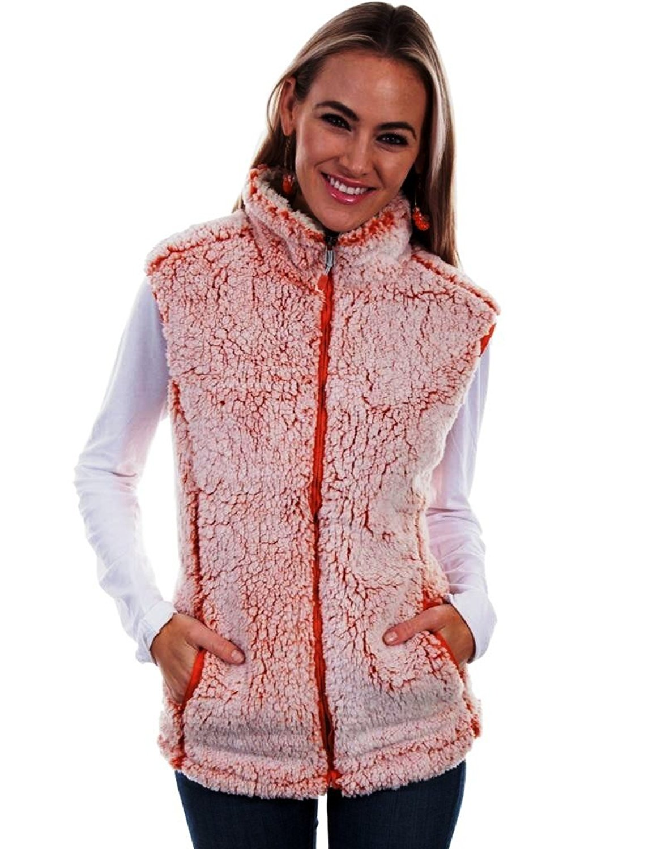 Gree Tea Green Tea, Tipped Two Tone Womens Sherpa Vest, Orange Color, Size Medium