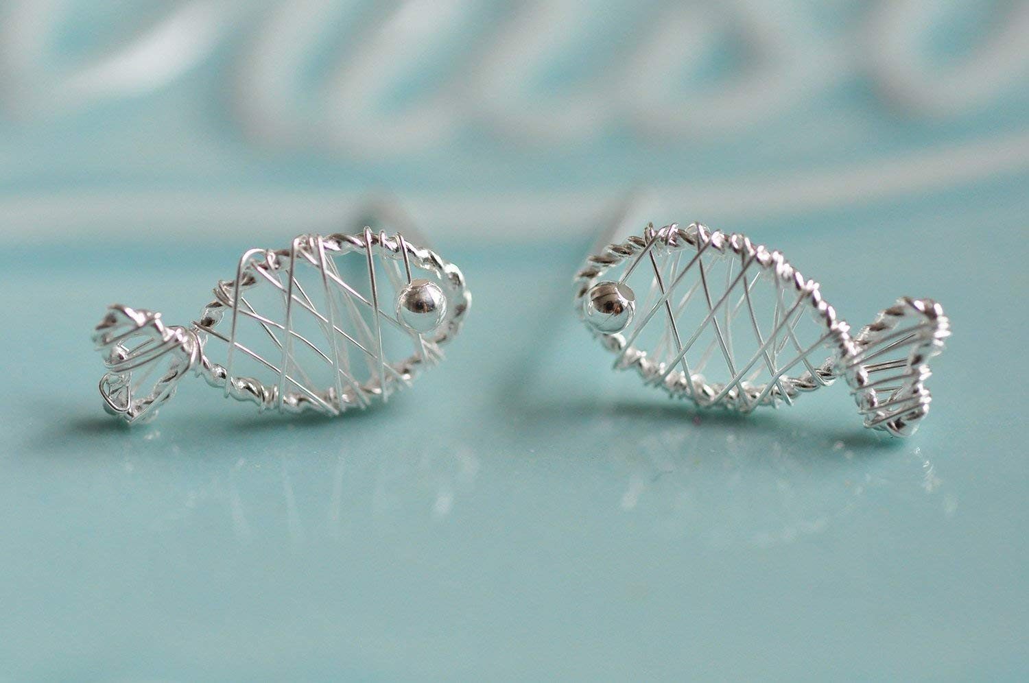 Silver Wire Wrapped Fish Earrings in Sterling Silver 925