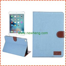 Factory price wallet jean leather case with credit card holder for ipad mini 4