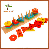 Beech Children Learn Early Teach Toys Wood Color Geometric Shaped Column Match Blocks Intelligent Educational Wooden Toy Of Baby