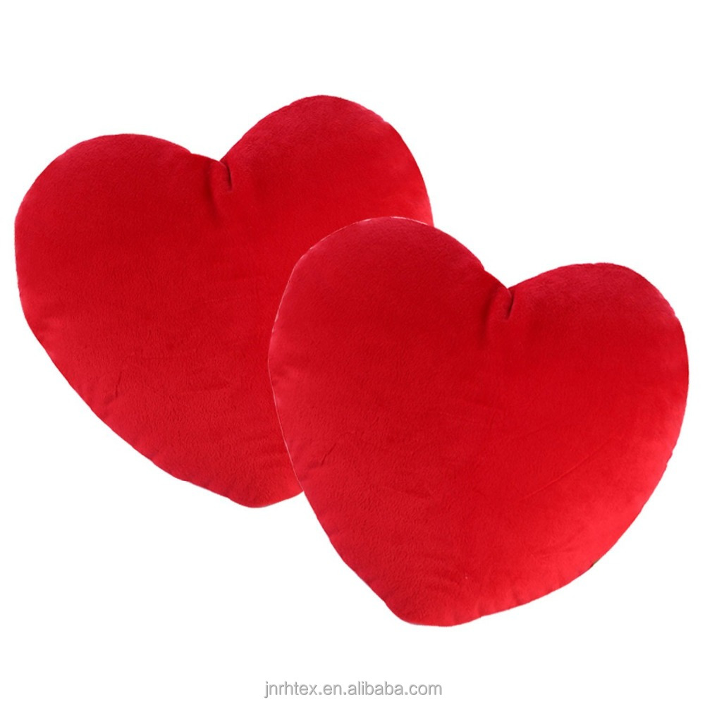 Custom red heart-shaped lovely pillow with no design