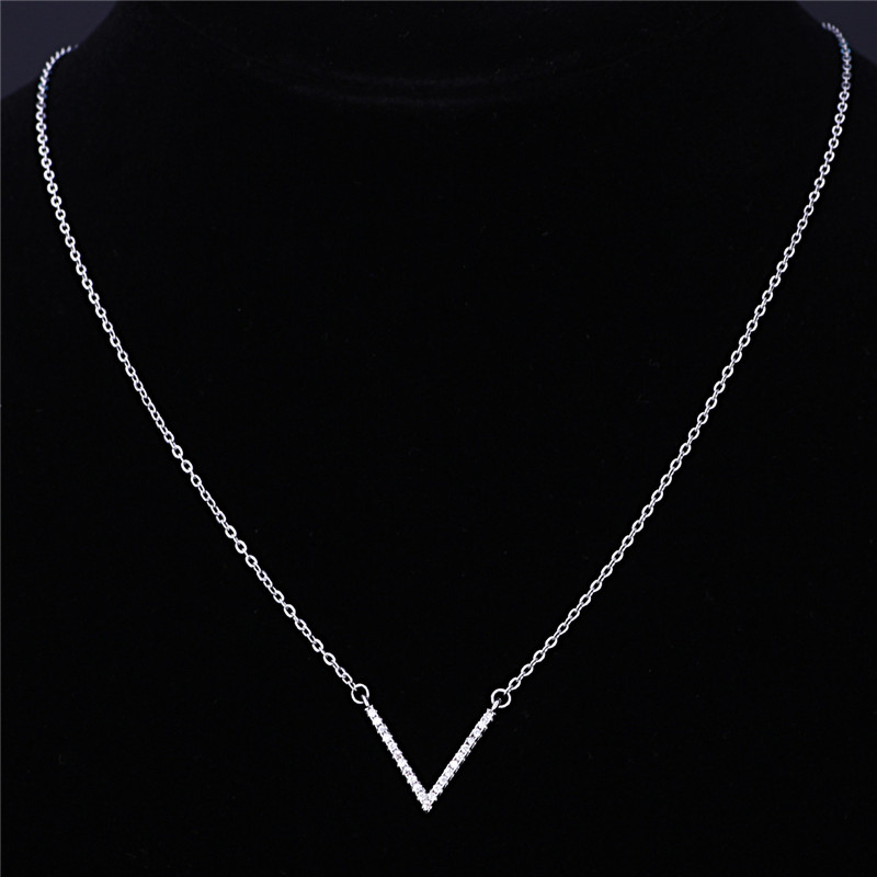 Fashion 2016 Women Chain 925 Silver Gold Necklace Jewelry, Custom Letter v Pendant with diamond