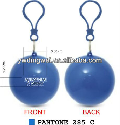 Promotional disposable poncho in plastic ball with carabiner attachment that can be attached to keyring