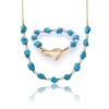 Heart Necklace And Bracelet Turquoise African Beads Gold Plated Jewelry Set Women