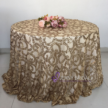 Sqn 73gl Custom 108 Inch Round Rose Gold Table Cloth Sequin Tablecloth