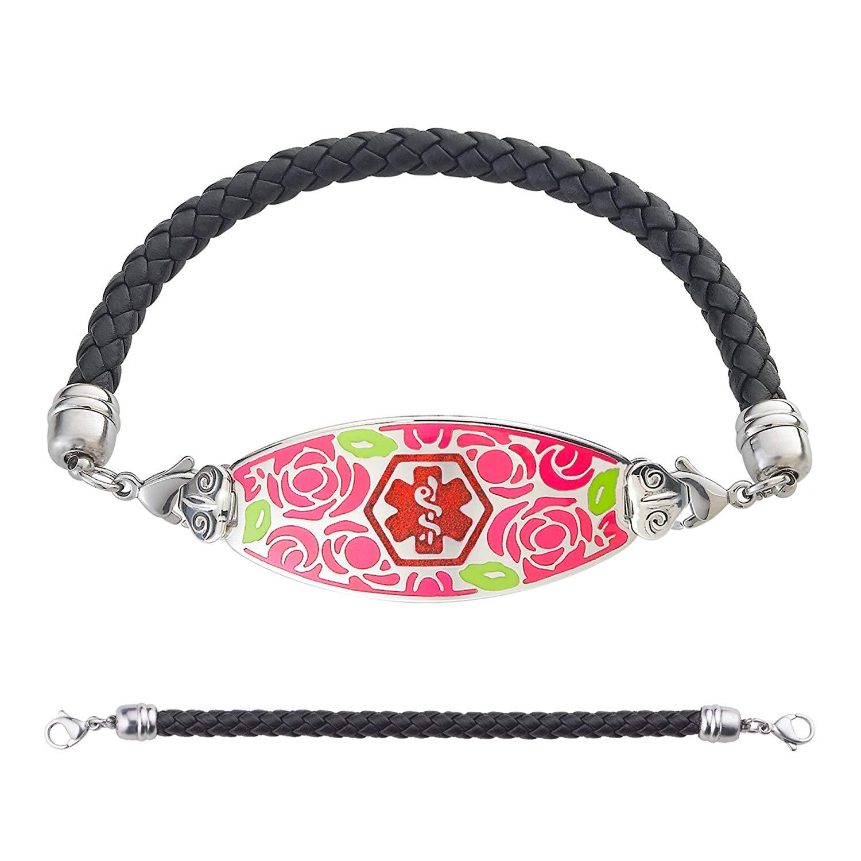 Divoti Custom Engraved Leather Medical Bracelet - Gorgeous Red Rose Medical Alert Bracelet w/Free Engraving - Black Braided Leather Chain -TP Red