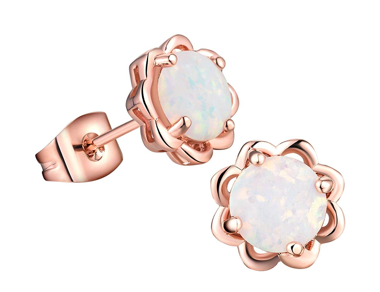 18K Rose Gold Plated Earrings Birthstone for Women Girls 8mm set Round Created Opal Stud Earrings Sets