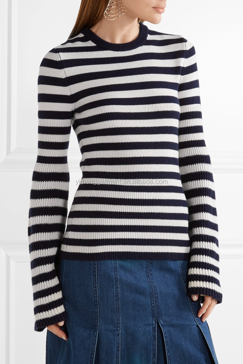 Among Best Selling Bell Sleeved Navy Blue And White ...