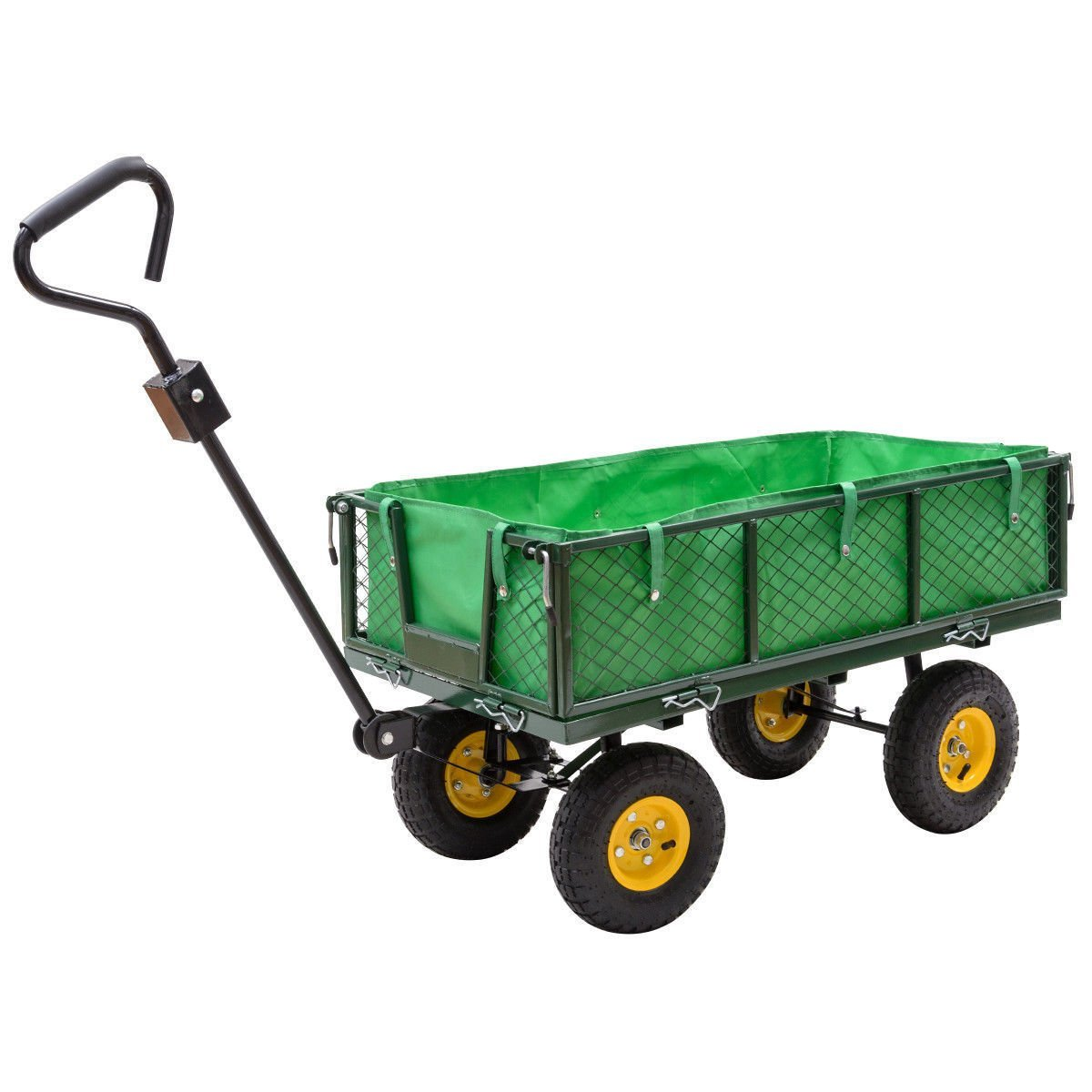 Globe House Products GHP 800-Lbs Capacity Steel & Oxford Cloth Garden Trolley Cart w Liner Handle & Tires