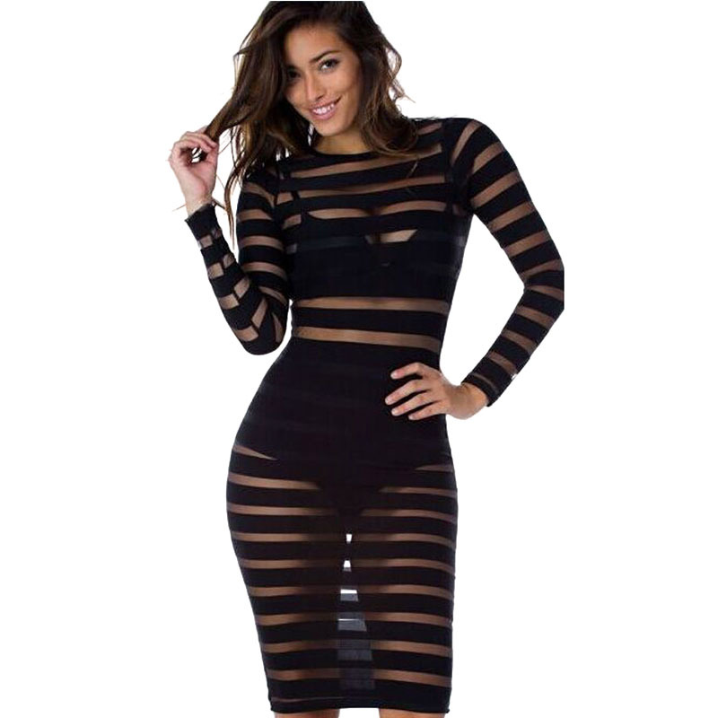 Black White Striped Mesh Sheer Hollow Out Transparent Sexy Dress 2015 Autumn Women Long Sleeve Bodycon Sexy Clubwear Dresses