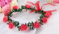 fancy decorative artificial indian wedding red flower garland headbands hair accessories