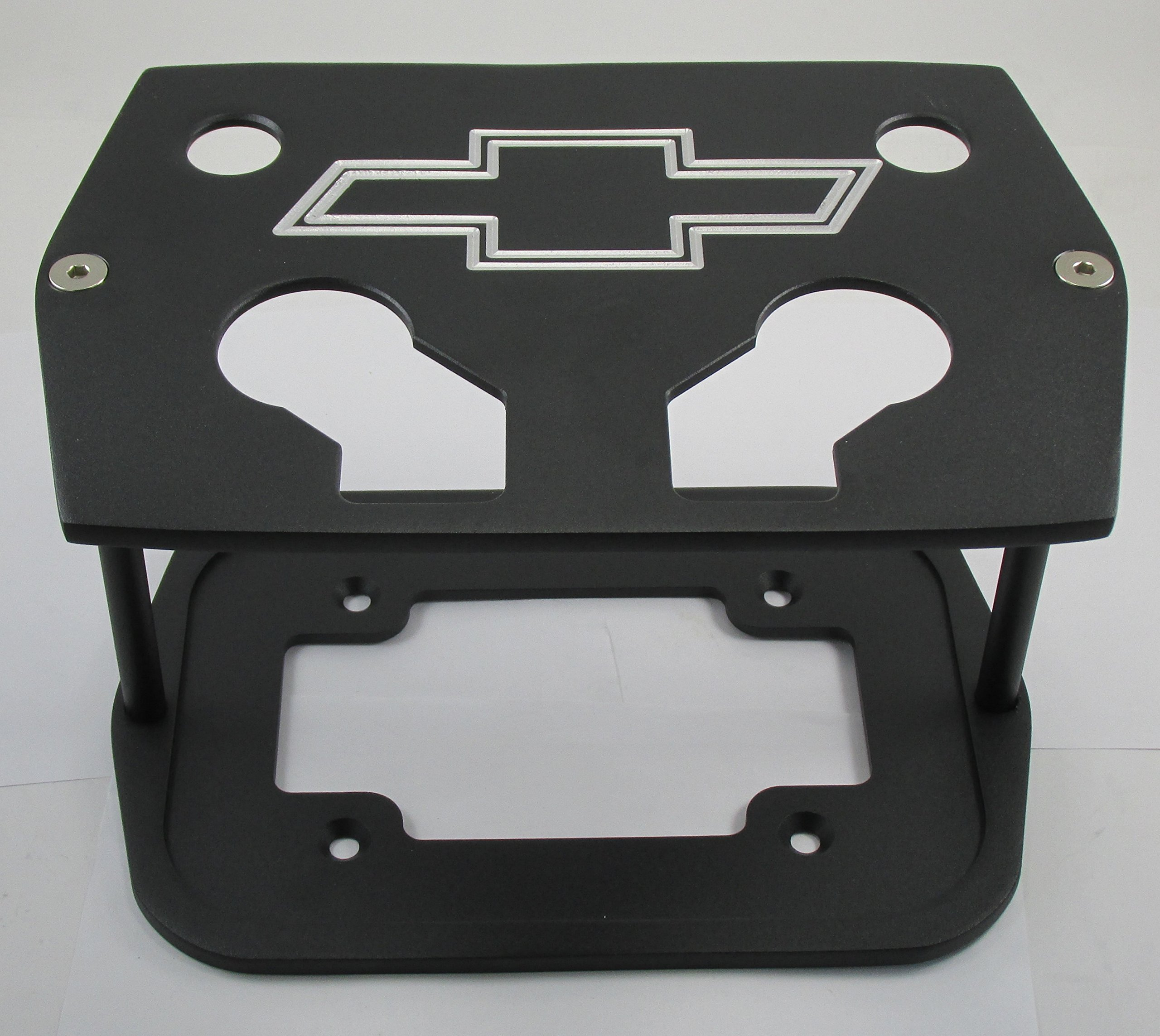Billet Aluminum Group 34/78 Optima Battery Tray - Chevy Bowtie Logo Textured Black - Red Yellow Blue Top