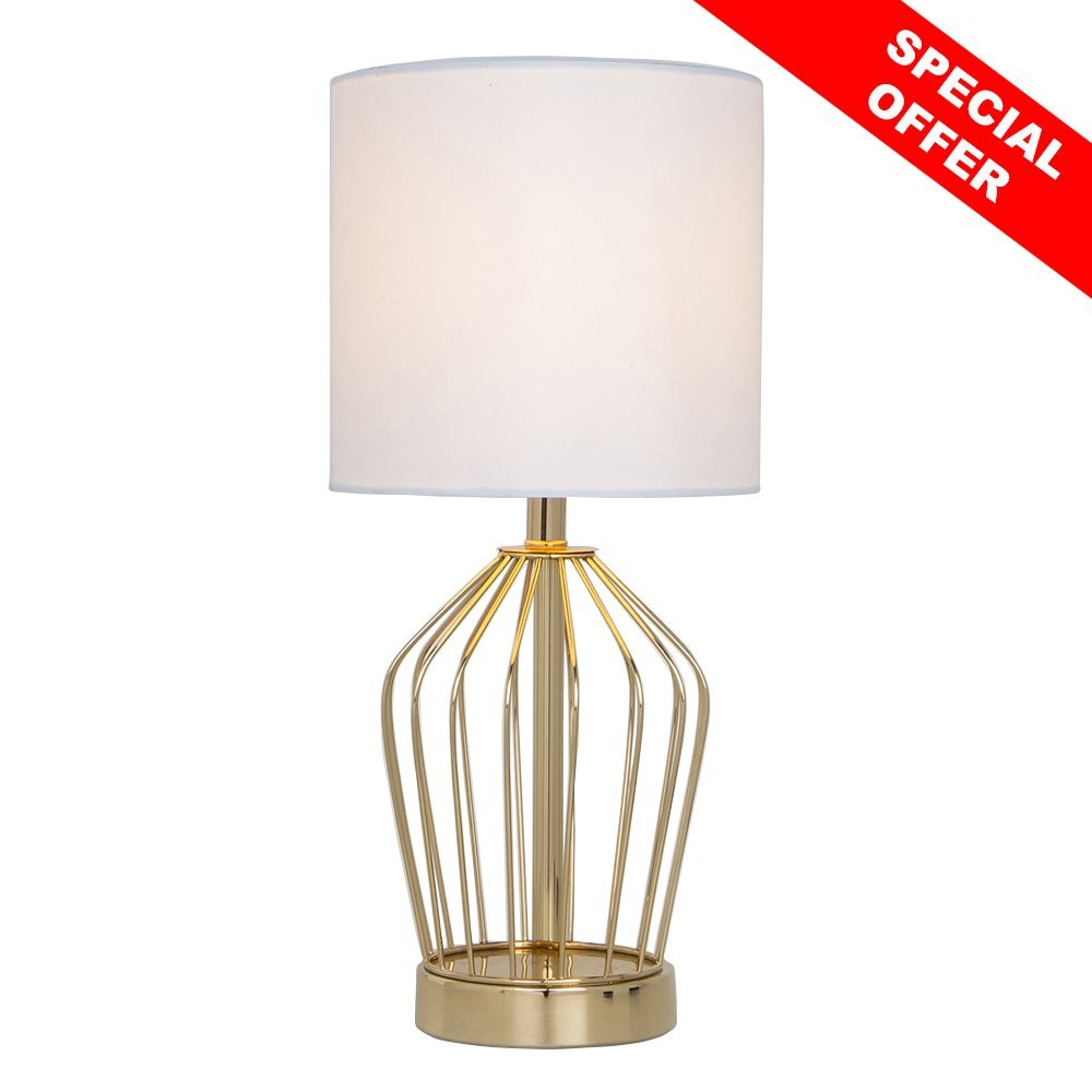 SOTTAE Golden Hollowed Base Livingroom Bedroom Bedside Table Lamp, Table Lamps With White Fabric Shade