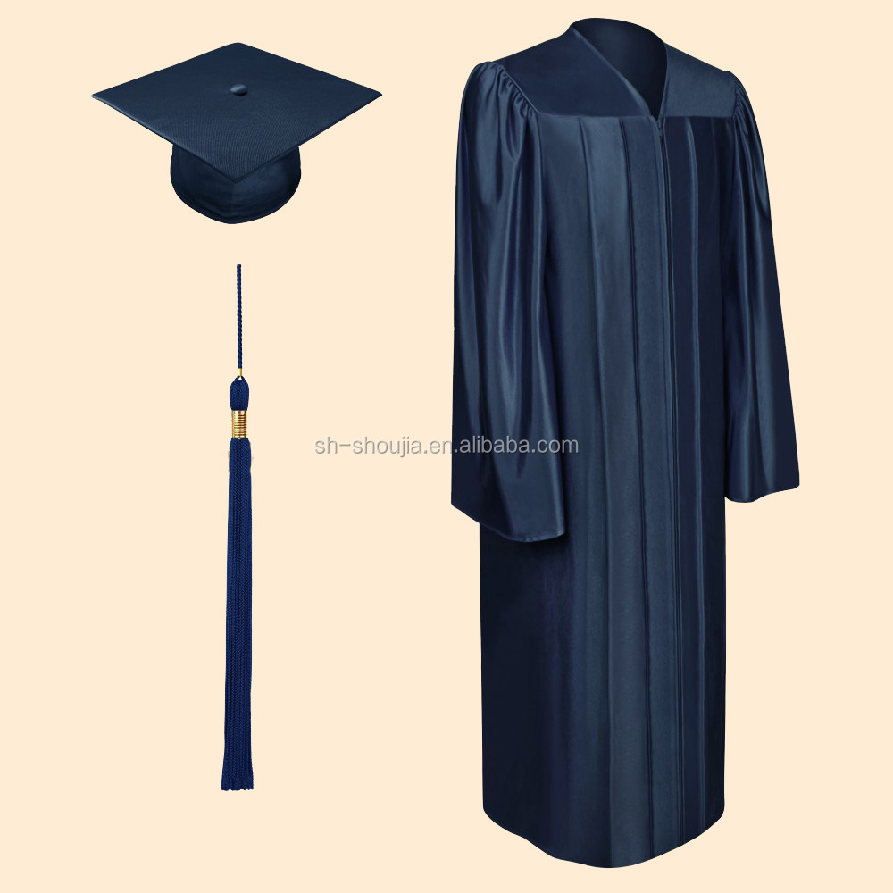 Shiny Navy Blue Graduation Gowns,Graduation Gowns,Bachelor ...