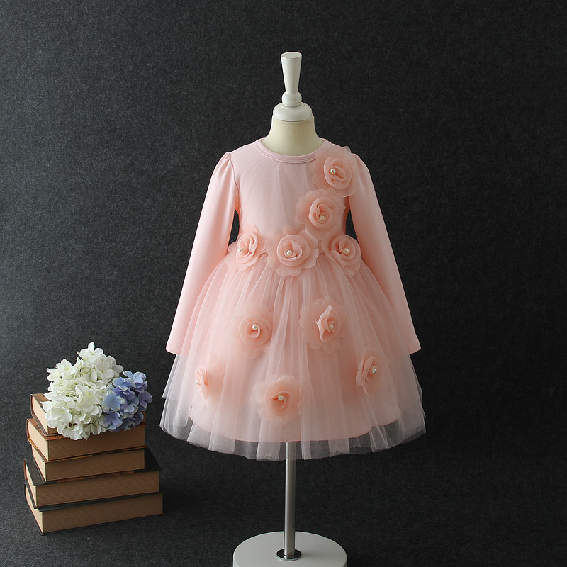 2017 New Style Winter Fall Baby S Pink Princess Flower Party Dress Dresses Purple