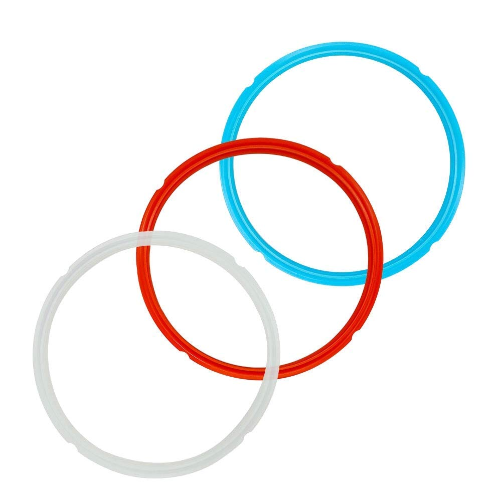 Silicone Sealing Ring for 5 6 Qt Instant Pot Accessories Replacement Rings - Seal Lasting & BPA Free - Red, Blue and White 3-Pack