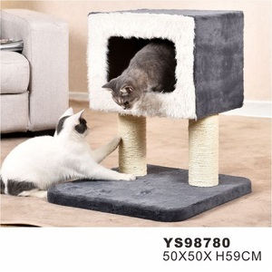 PetStar newest Factory Supplier Oem Customized Plush Fur Scratching Post Cheap Toy Pet House Cat Tree