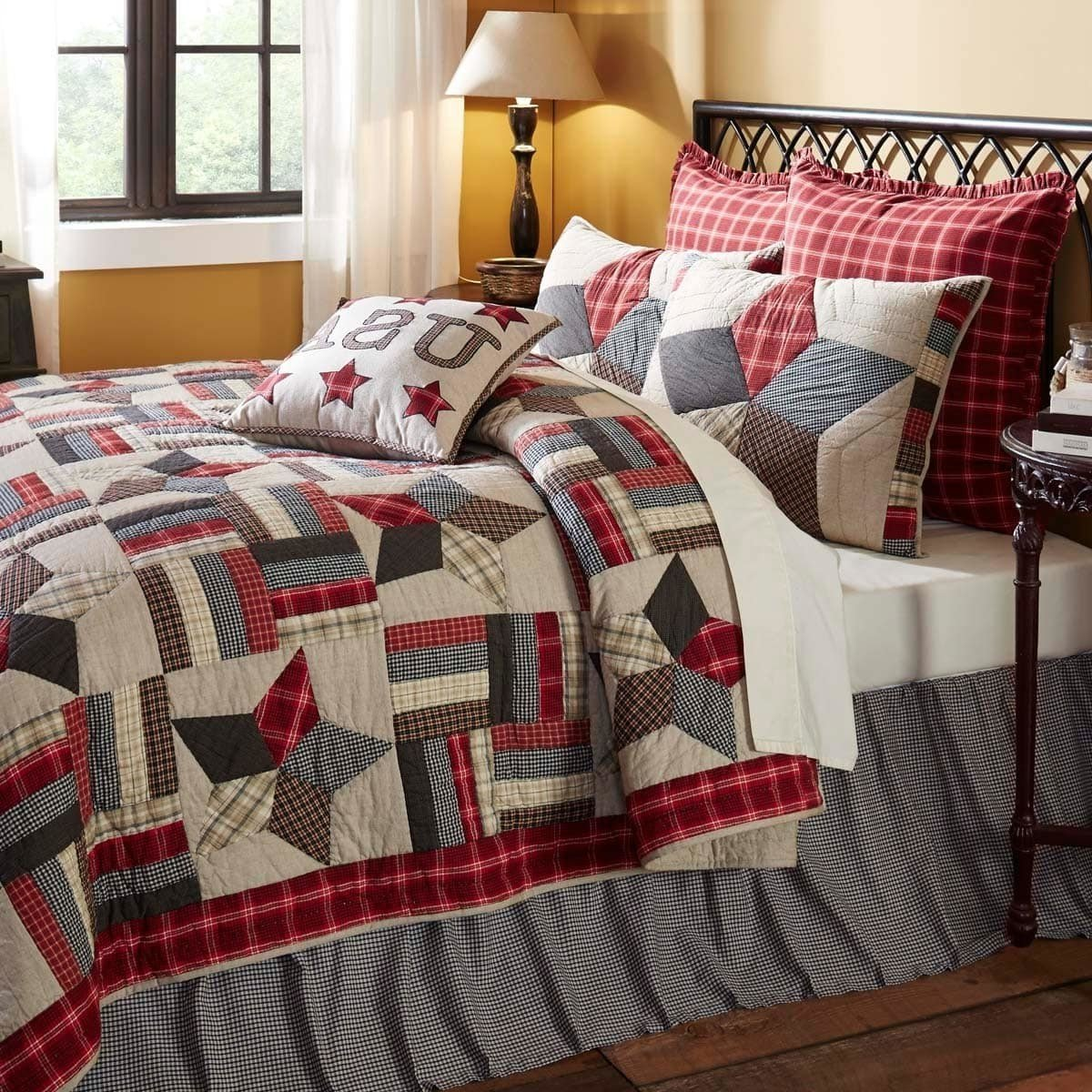 3 Piece Grey Black White Cal King Quilt Set, Patchwork Pattern Themed Bedding Star Plaid Rustic Western Shabby Chic Americana Tan Khaki Navy Blue Tartan Gray, Cotton