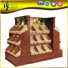 3 layers solid wood or MDF fruit shop display shelf