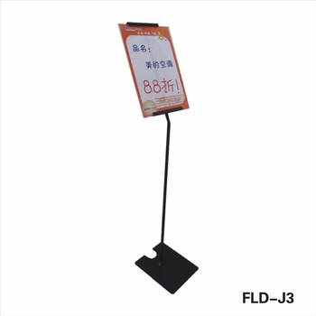 FLD L Type Acrylic Sign Board Powder Coated Poster Display Stand