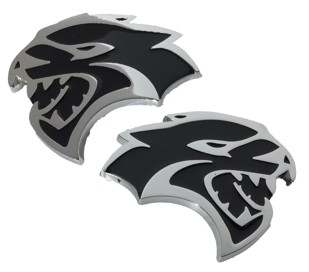 Hellcat Emblem (Larger Version) Replaces OEM for Dodge Mopar 68269896AA / 68269897AA SRT SRT8 BOTH Left & Right Fender