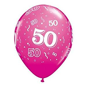 Age 50 50th Birthday Wild Berry Pink 11 Latex Balloons