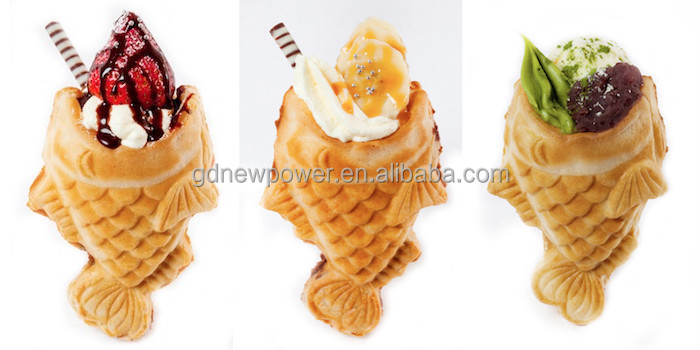 Commercial use non stick open mouth fish waffle ice cream for Fish ice cream
