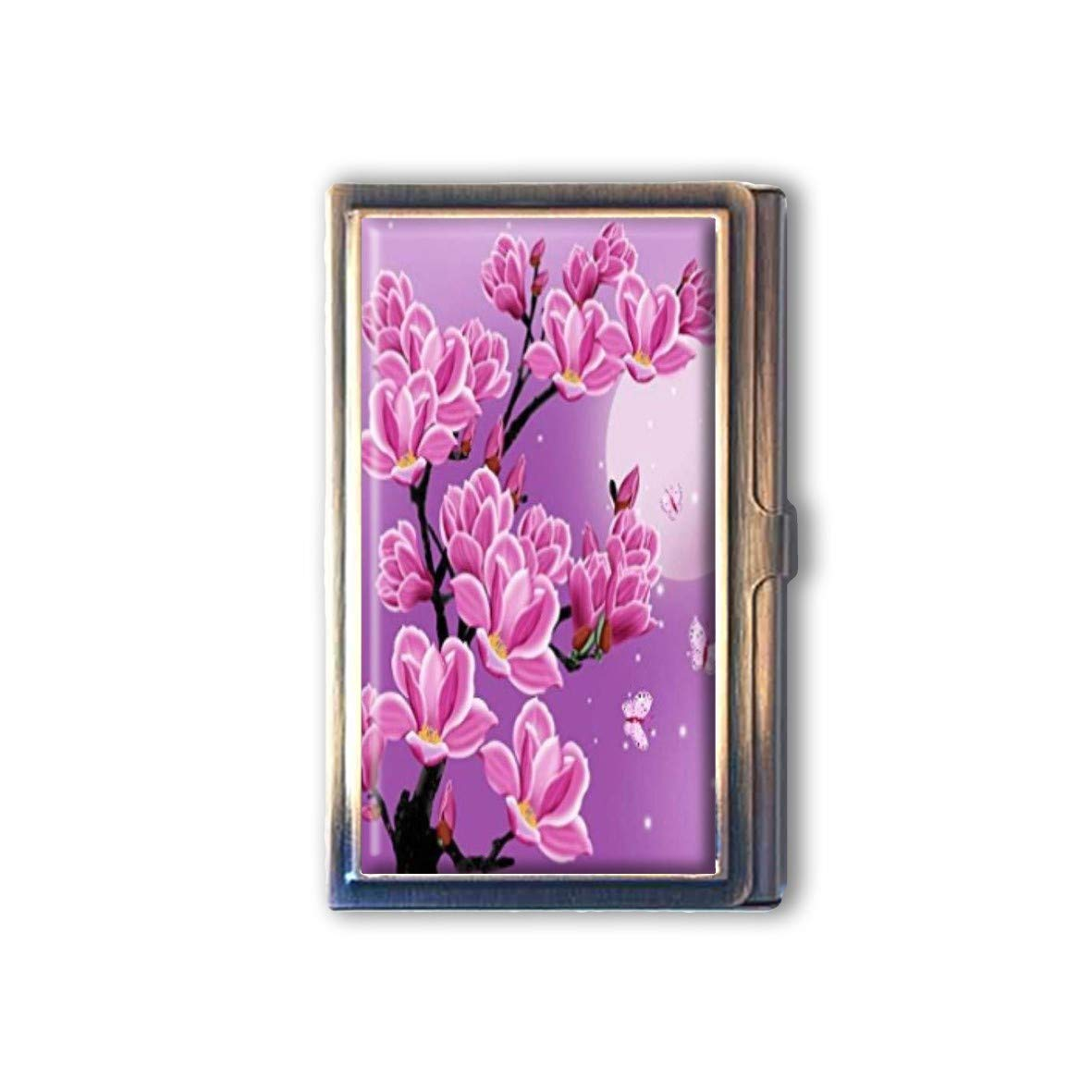 Vintage Black Pink Flowers Custom Business Bronze Name Card Holder Stainless Steel Box Case Card Wallet Pocket