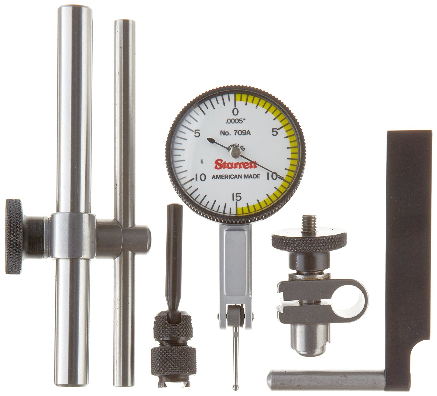 """Starrett 709ACZ Dial Test Indicator with Attachments, Dovetail Mount, White Dial, 0-15-0 Reading, 1.375"""" Dial Dia., 0-0.03"""" Range, 0.0005"""" Graduation, +/-0.0005"""" Accuracy"""