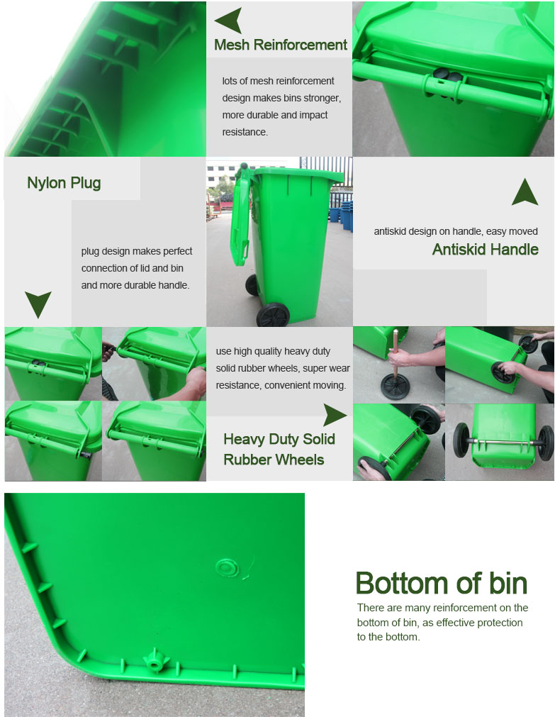 guangtai GT-120A industrial plastic bins with wheels