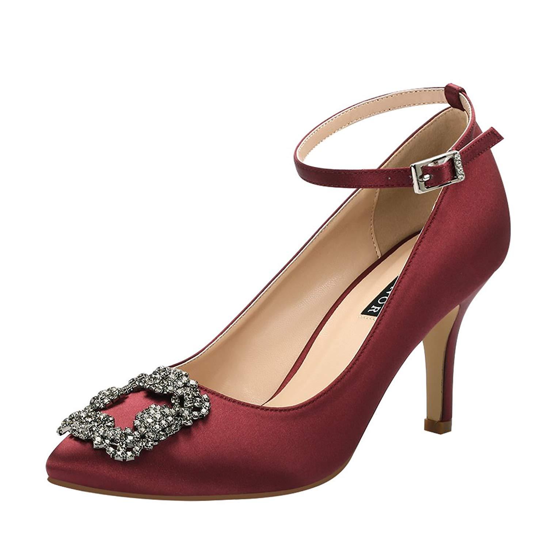 08abbf3154955 Buy ERIJUNOR Women Pumps Comfortable Middle Heel Brooch Evening Prom ...