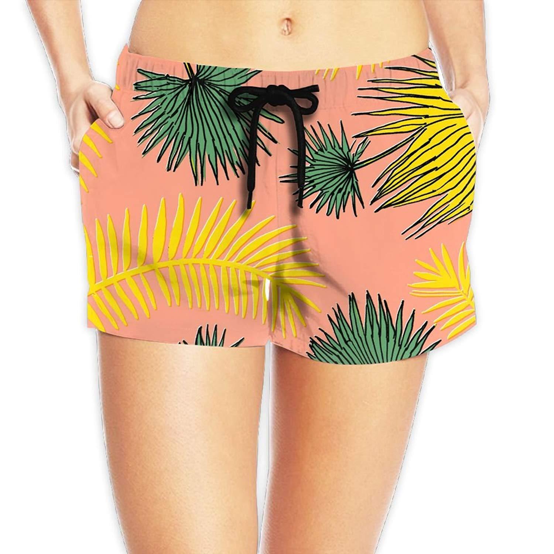 bdf80ddd0f Get Quotations · Kurabam Beach Volleyball Shorts, Tropical Plants Beach  Swim Shorts for Women Girls, Outdoor Short