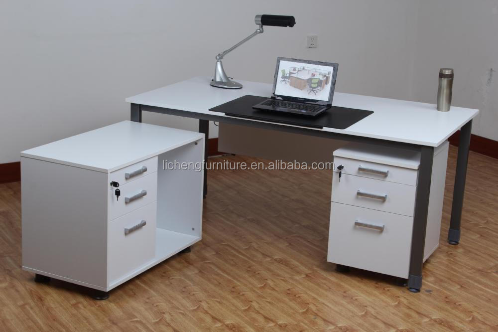 White Melamine Office Table With Drawers And Side Cabinet