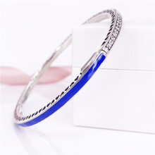 Bewitching Salable Retail Radiant Hearts Bracelet Princess Blue Enamel European 925 Silver Bangle