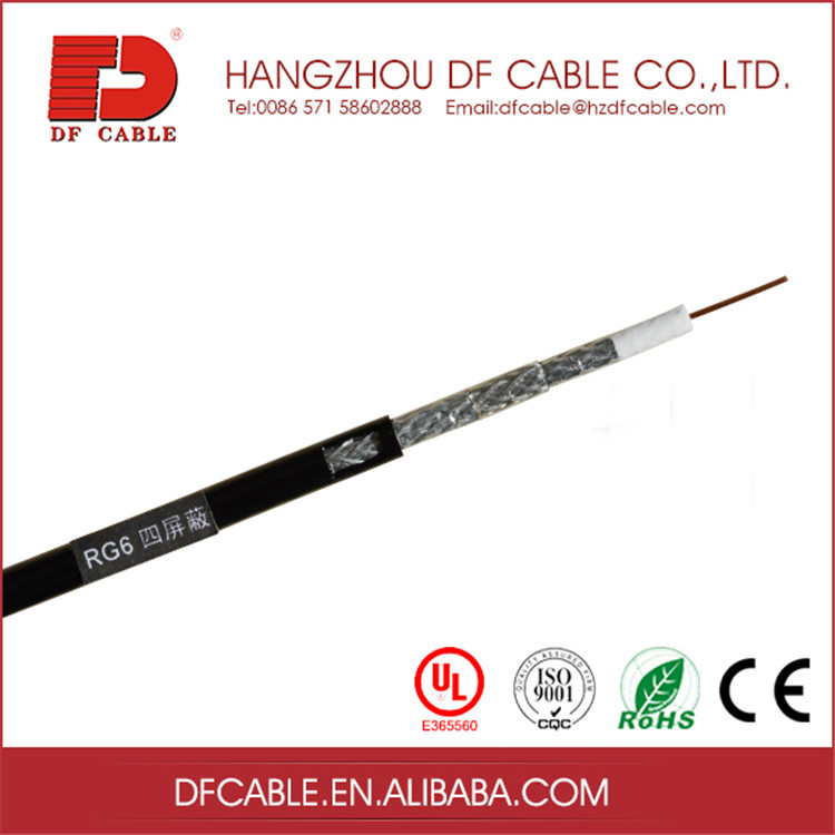 Eco-friendly reclaimed material rg6 cable quad