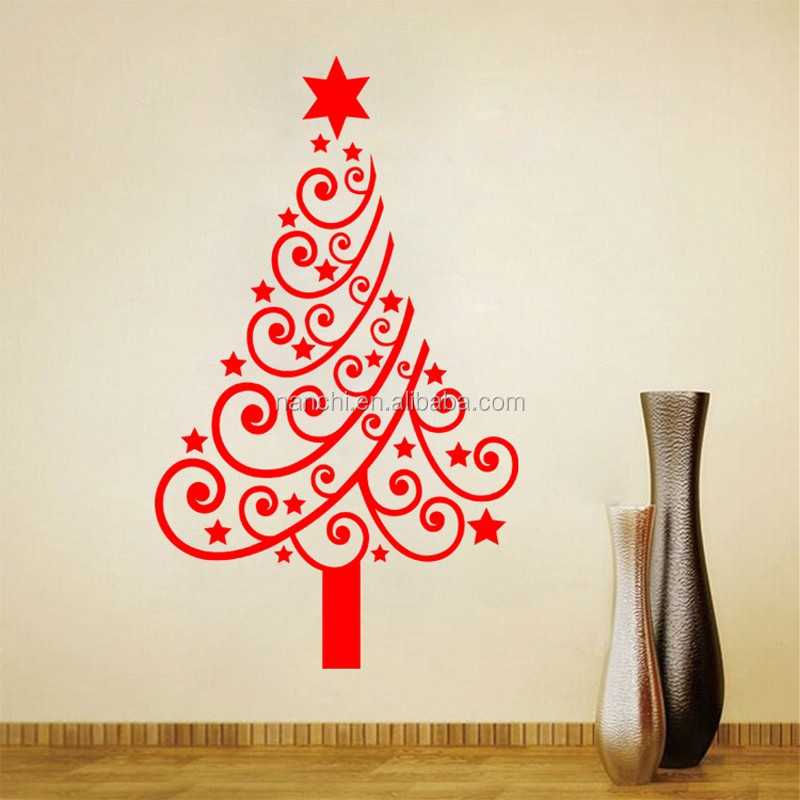Merry Christmas Xmas Tree Santa Claus Wall Sticker Home Decoration Window  Party Decal Decor DIY Stickers Part 29