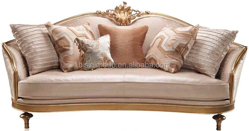 Noble Replica Venetian Gold Three Seater Sofa with Ivory Soft Fabric, Luxury Italian Villa Furniture BF11-11262e