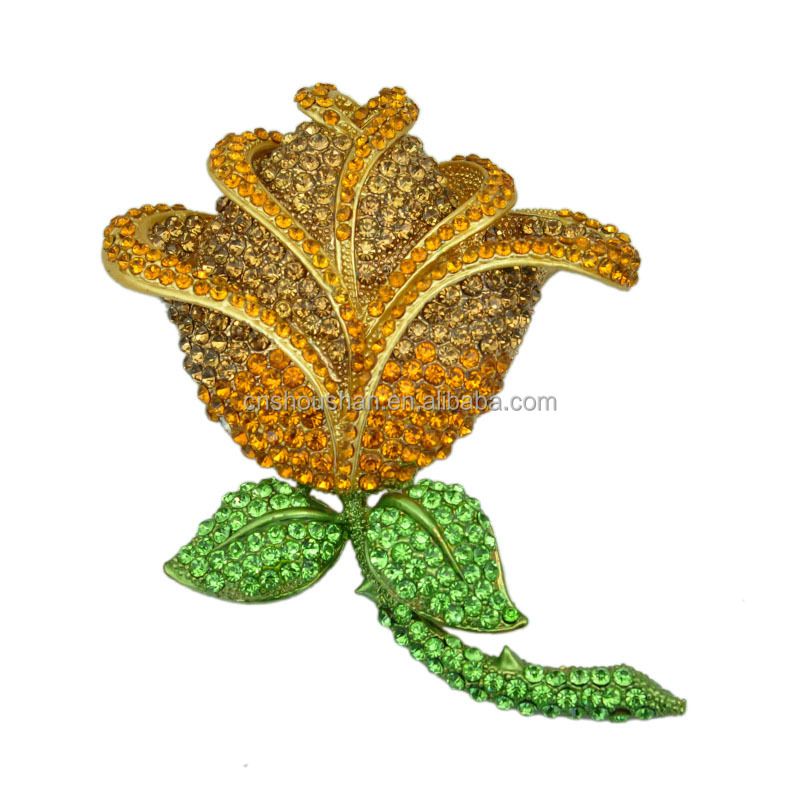 US Large Size Brooch Flower Brooch Yellow Rose Crystal Rhinestone Pin