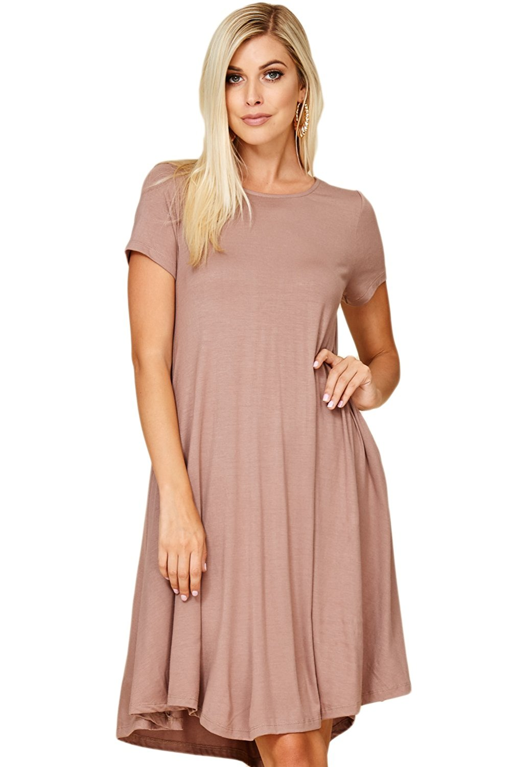 c6c1bb84e8e01c Get Quotations · Annabelle Women's Comfy Short Sleeve Scoop Neck Swing  Dresses With Pockets