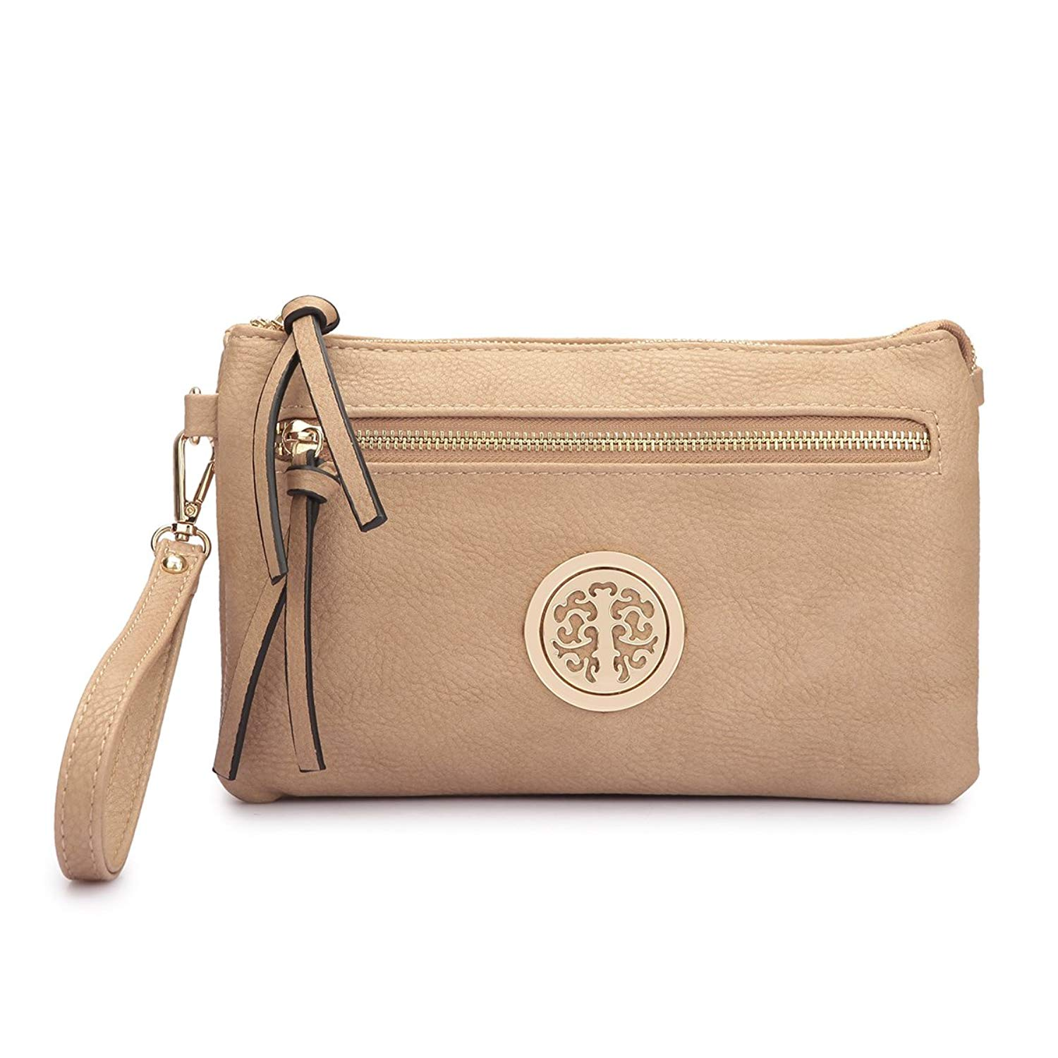 MMK Collection Fashion Crossbody Bag ~Messenger Purse~Crossbody Bag for Women~Designer Fashion Wristlet Wallet Multi Pocket Clutch Purse (MA-18-7217 Beige)